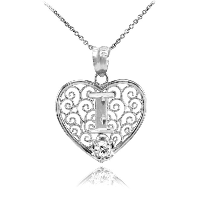 "Silver Filigree Heart ""I"" Initial CZ Pendant Necklace"