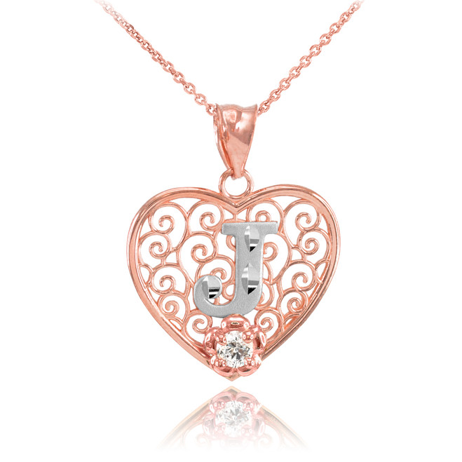 """Two Tone Rose Gold Filigree Heart """"J"""" Initial CZ Pendant Necklace"""
