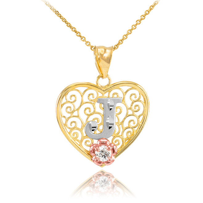 "Two Tone Yellow Gold Filigree Heart ""J"" Initial CZ Pendant Necklace"