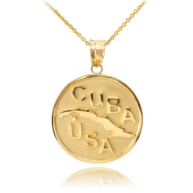 Solid Gold CUBA-USA Medallion Pendant Necklace