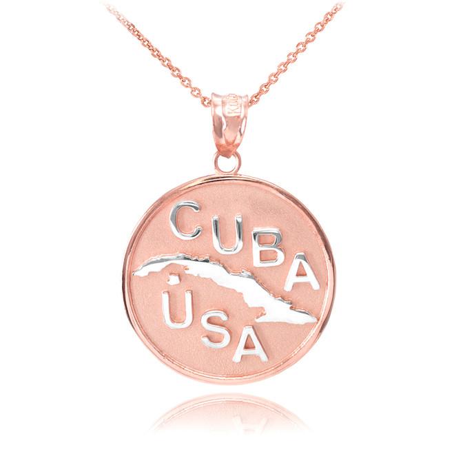 Two Tone Rose Gold CUBA-USA Medallion Pendant Necklace