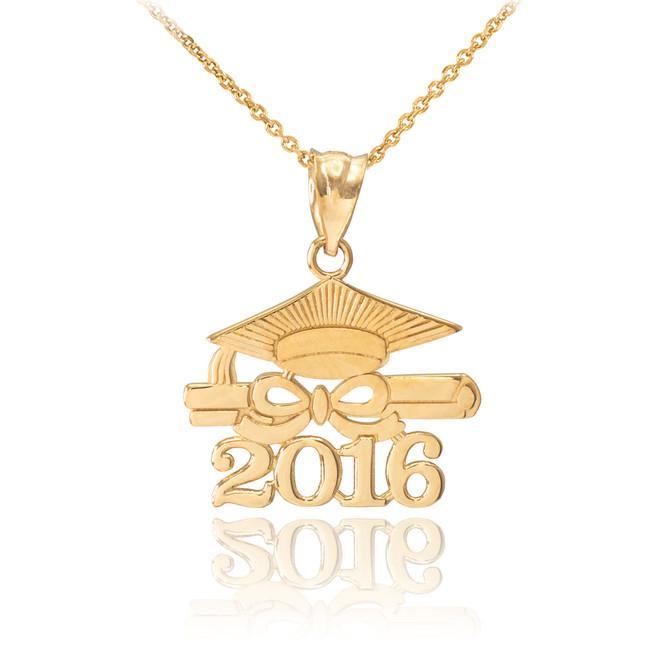 "Gold ""CLASS OF 2016"" Graduation Pendant Necklace"