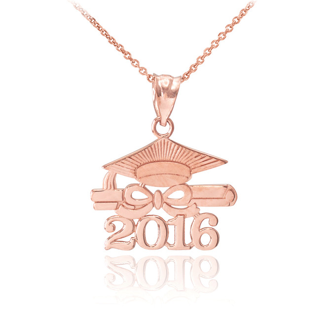 "Rose Gold ""CLASS OF 2016"" Graduation Pendant Necklace"