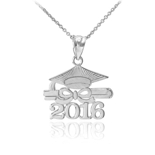 """Sterling Silver """"CLASS OF 2016"""" Graduation Pendant Necklace"""