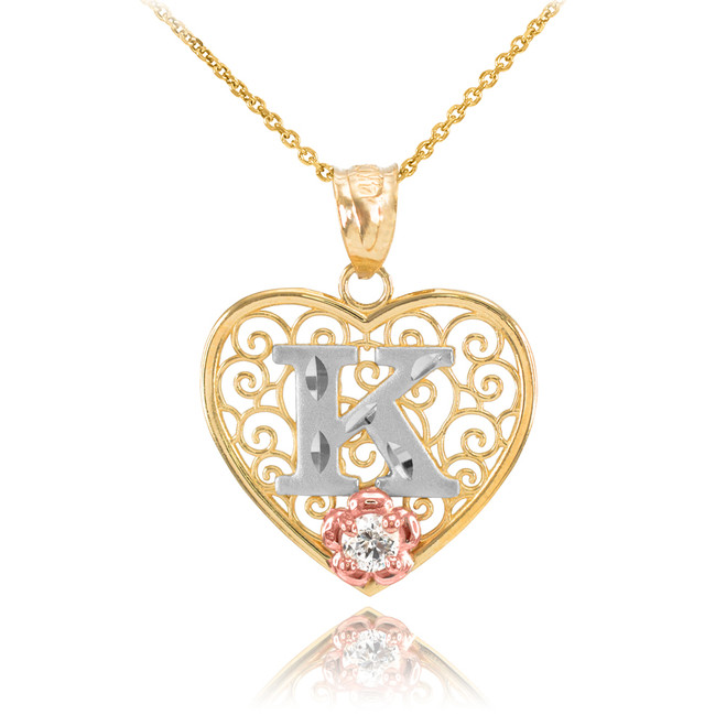 "Two Tone Yellow Gold Filigree Heart ""K"" Initial CZ Pendant Necklace"
