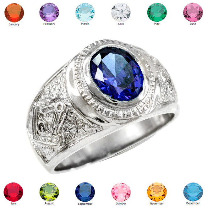 Silver Masonic Men's Birthstone CZ Ring