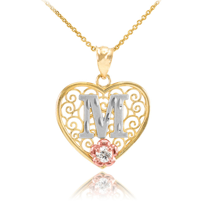 """Two Tone Yellow Gold Filigree Heart """"M"""" Initial CZ Pendant Necklace"""