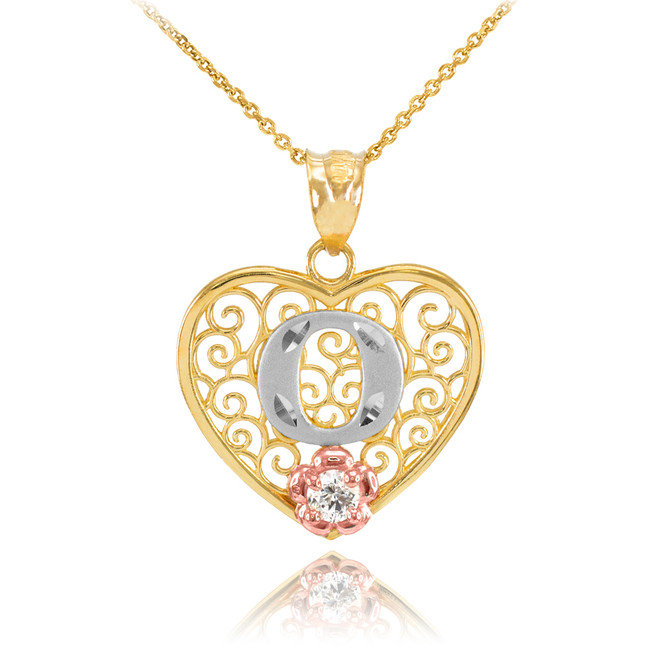"""Two Tone Yellow Gold Filigree Heart """"O"""" Initial CZ Pendant Necklace"""