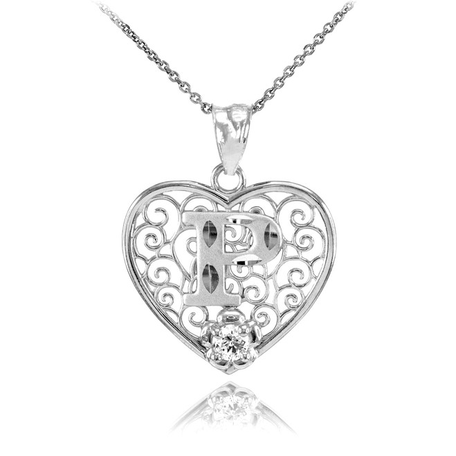 "White Gold Filigree Heart ""P"" Initial CZ Pendant Necklace"