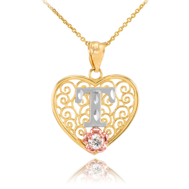 """Two Tone Yellow Gold Filigree Heart """"T"""" Initial CZ Pendant Necklace"""