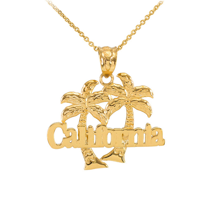 Yellow Gold California Palm Tree Pendant Necklace