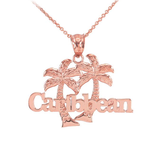 Rose Gold Caribbean Palm Tree Pendant Necklace