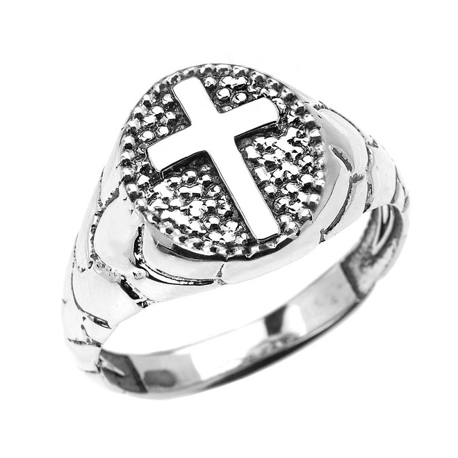 Sterling Silver Textured Band Oval Christian Religious Cross Men's Ring