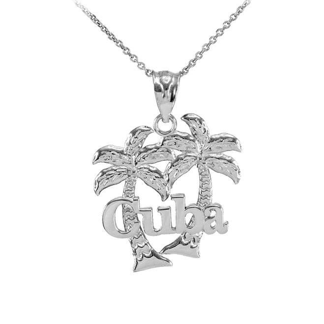 White Gold Cuba Palm Tree Pendant Necklace