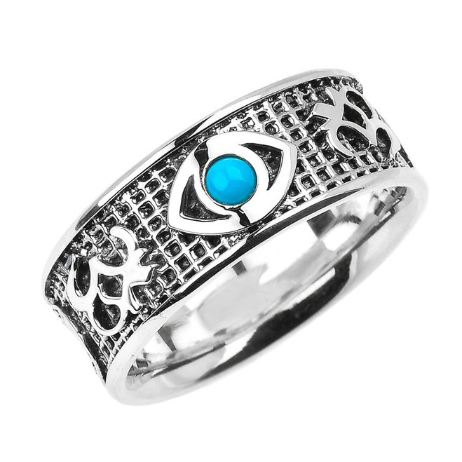 Genuine Turquoise Good Luck Evil Eye Silver Ring with Om Symbols on Sides