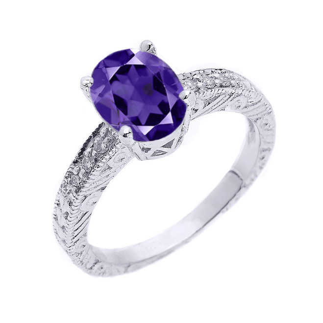 Sterling Silver Art Deco Amethyst and White Topaz Birthstone Ring