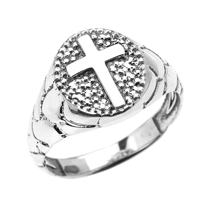 White Gold Textured Band Oval Christian Religious Cross Men's Ring