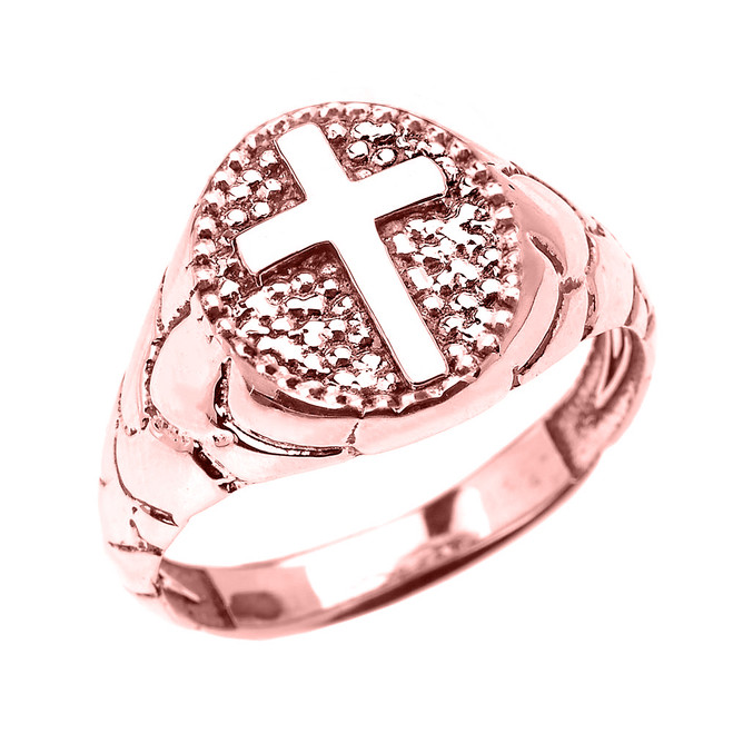 Rose Gold Textured Band Oval Christian Religious Cross Men's Ring