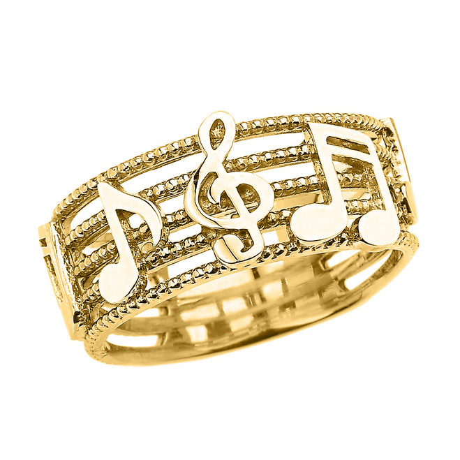 Yellow Gold Treble Clef with Musical Notes Band Ring 8.0 MM