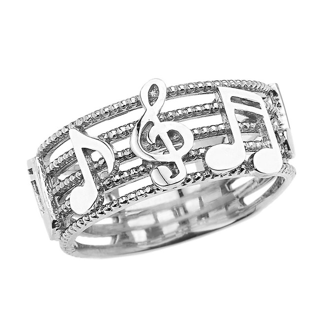 White Gold Treble Clef with Musical Notes Band Ring 8.0 MM