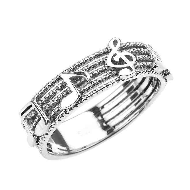 White Gold Treble Clef with Musical Notes Band Ring 6 MM