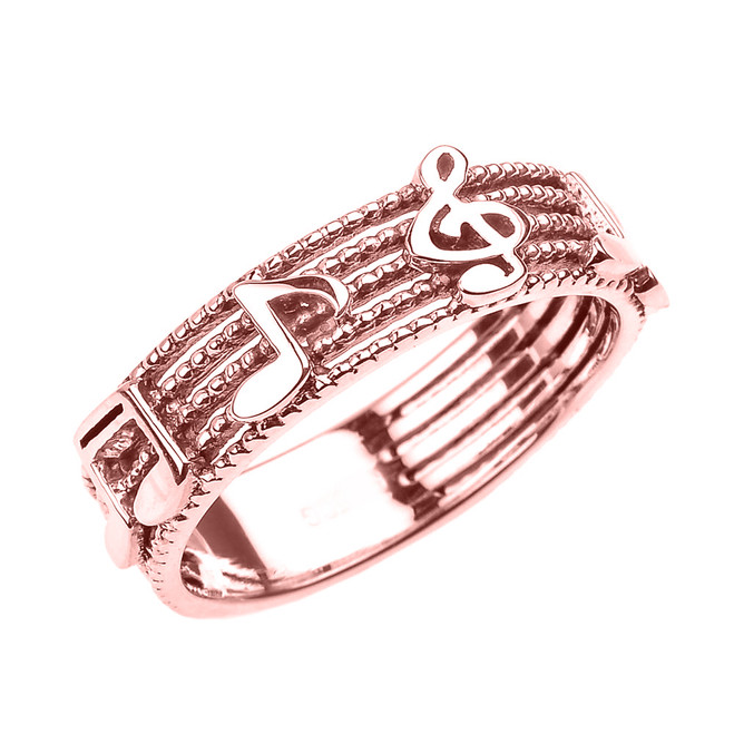 Rose Gold Treble Clef with Musical Notes Band Ring 6 MM