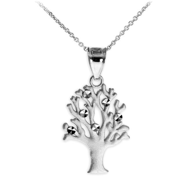 Satin Finish White Gold Tree Of Life Charm Pendant Necklace
