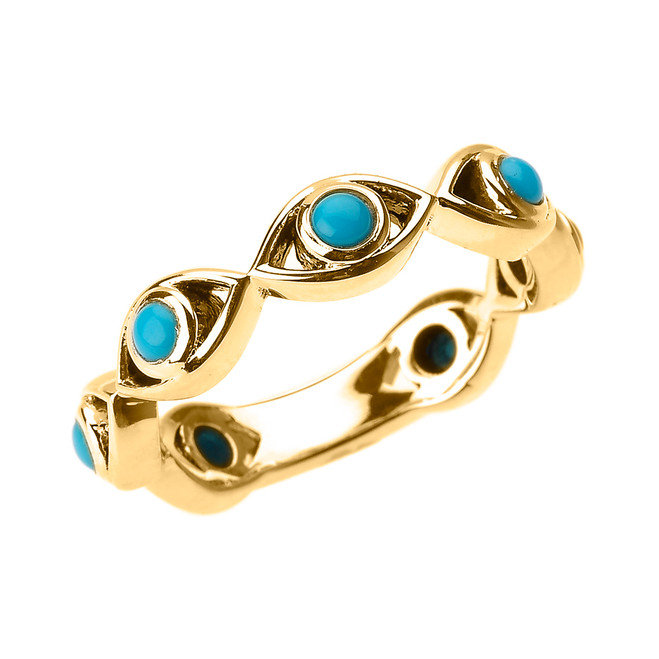 Yellow Gold Turquoise Evil Eye Band