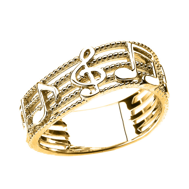 Yellow Gold Treble Clef with Musical Notes Wavy Band Ring 7.5 MM