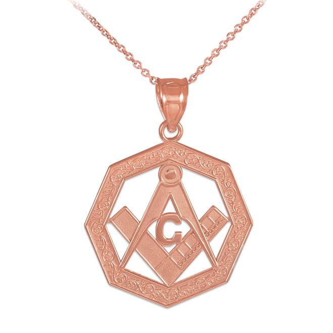 Rose Gold Freemason Octagonal Masonic Bail Pendant Necklace