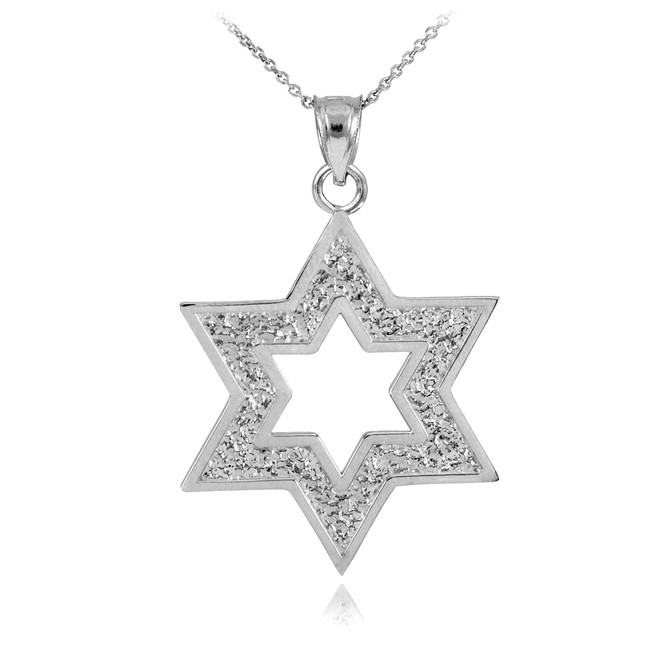White Gold Textured Star Of David Pendant Necklace