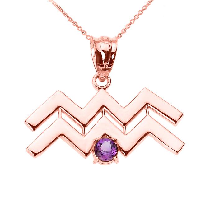Rose Gold Aquarius Zodiac Sign February Birthstone Pendant Necklace