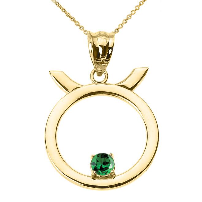 Yellow Gold Taurus Zodiac Sign May Birthstone Pendant Necklace