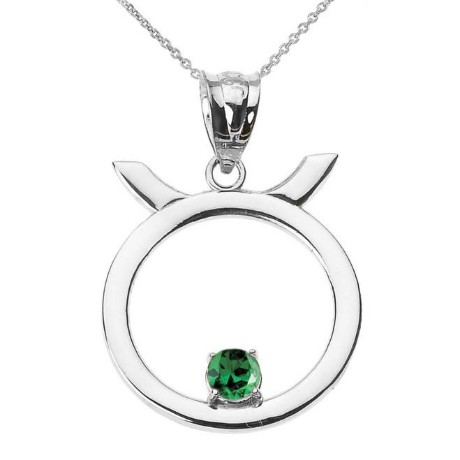 White Gold Taurus Zodiac Sign May Birthstone Pendant Necklace