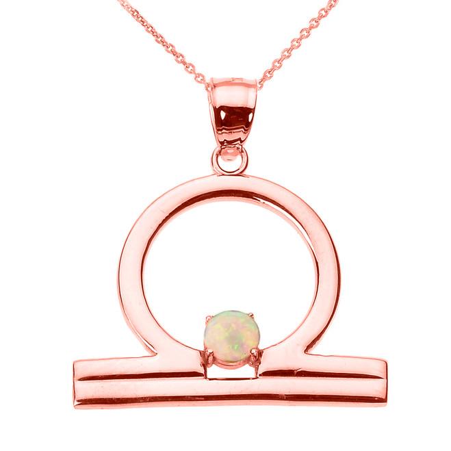 Rose Gold Libra Zodiac Sign October Birthstone Pendant Necklace
