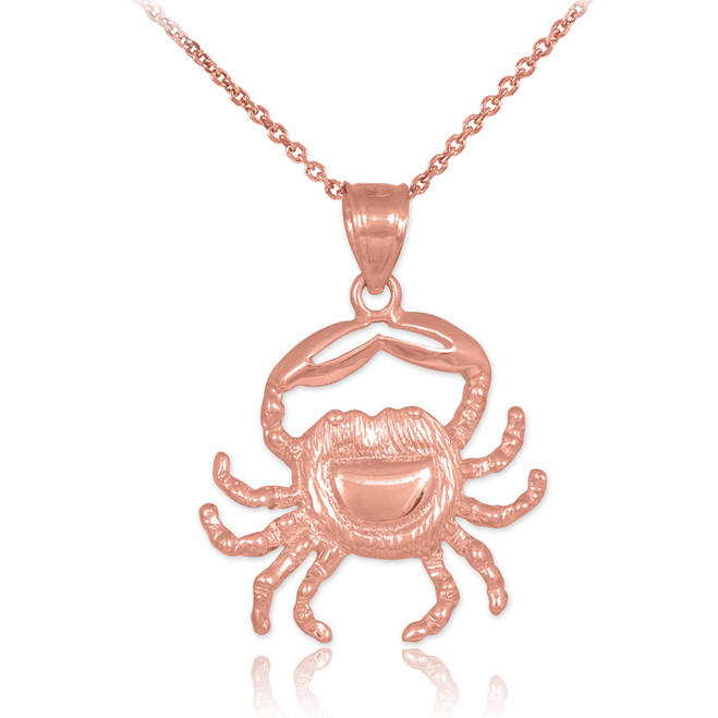 Rose Gold Crab Charm Pendant Necklace