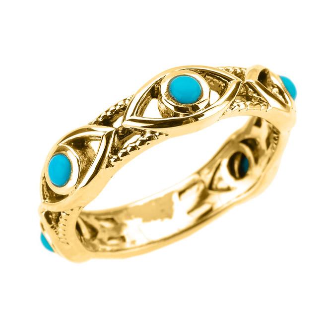 Yellow Gold Milgrain Turquoise Evil Eye Good Luck Ring
