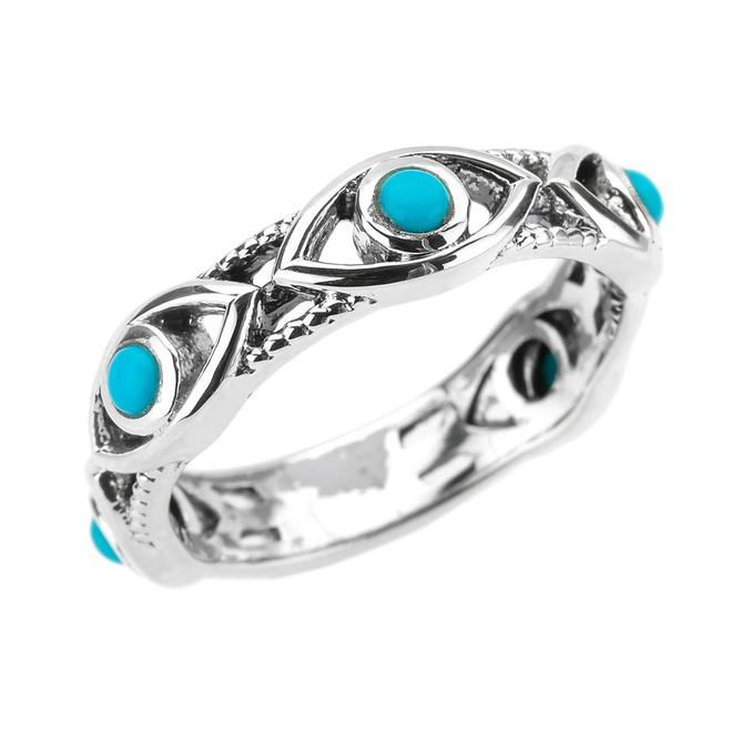 White Gold Milgrain Turquoise Evil Eye Good Luck Ring