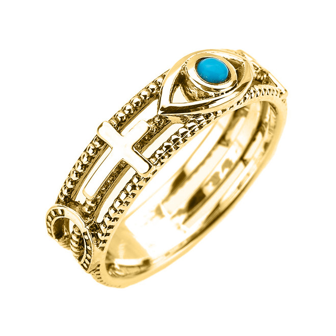 Yellow Gold Milgrain Sideways Cross Turquoise Evil Eye Good Luck Ring