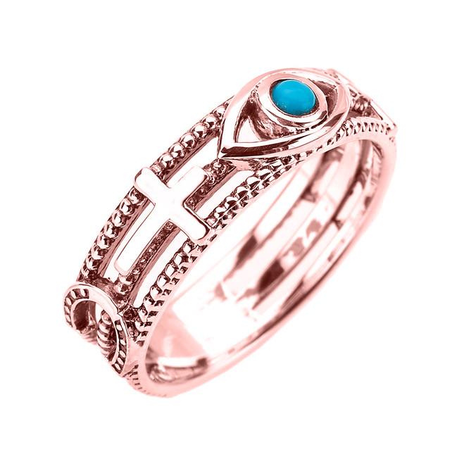 Rose Gold Milgrain Sideways Cross Turquoise Evil Eye Good Luck Ring