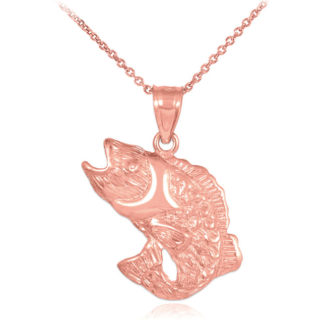 Rose Gold Sea Bass Pendant Necklace