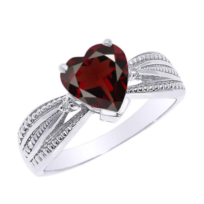 Beautiful White Gold Garnet and Diamond Proposal Ring