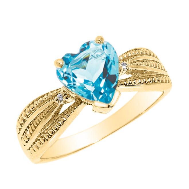 Beautiful Yellow Gold Blue Topaz and Diamond Proposal Ring