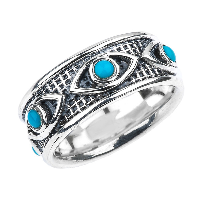 Sterling Silver Turquoise Evil Eye Comfort Fit Good Luck Band