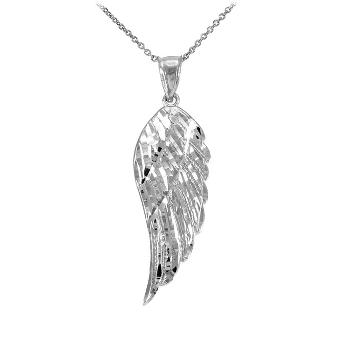 White Gold Angel Wing Pendant Necklace