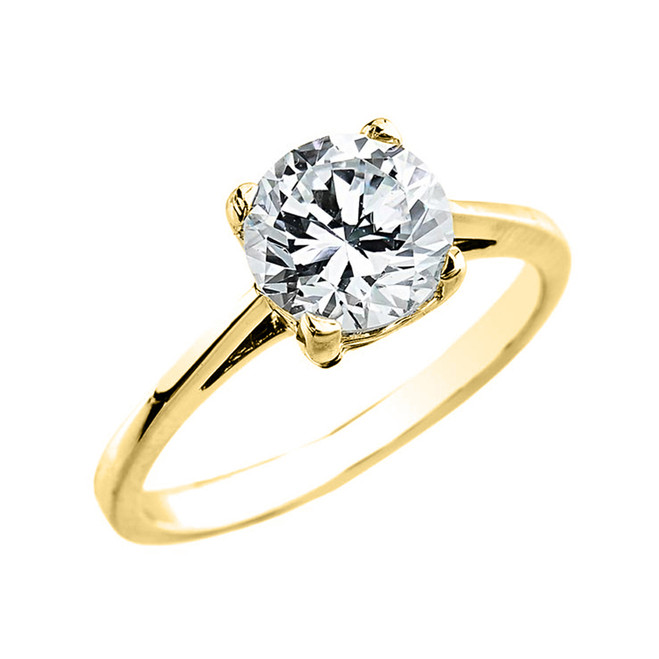 Yellow Gold 2.50 ct Cubic Zirconia Dainty Solitaire Engagement Ring