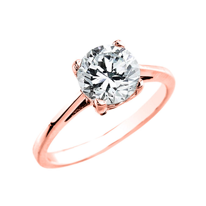 Rose Gold 2.50 ct Cubic Zirconia Dainty Solitaire Engagement Ring
