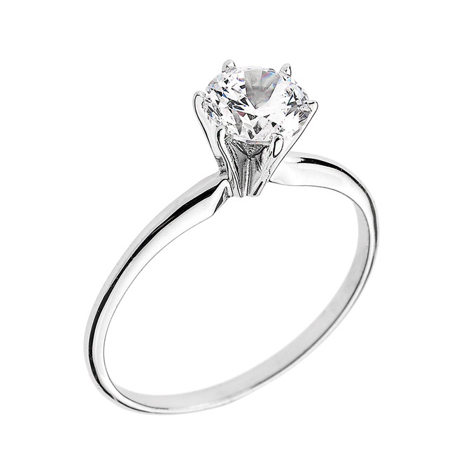 White Gold 1.50 ct Cubic Zirconia Dainty Solitaire Engagement Ring