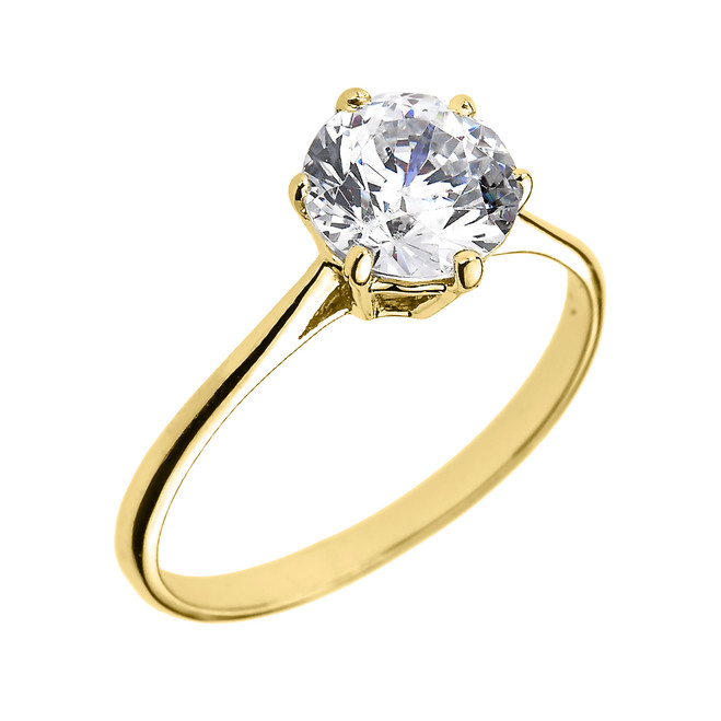 Yellow Gold 6 Prongs 2.80 ct Round CZ Dainty Solitaire Engagement Ring