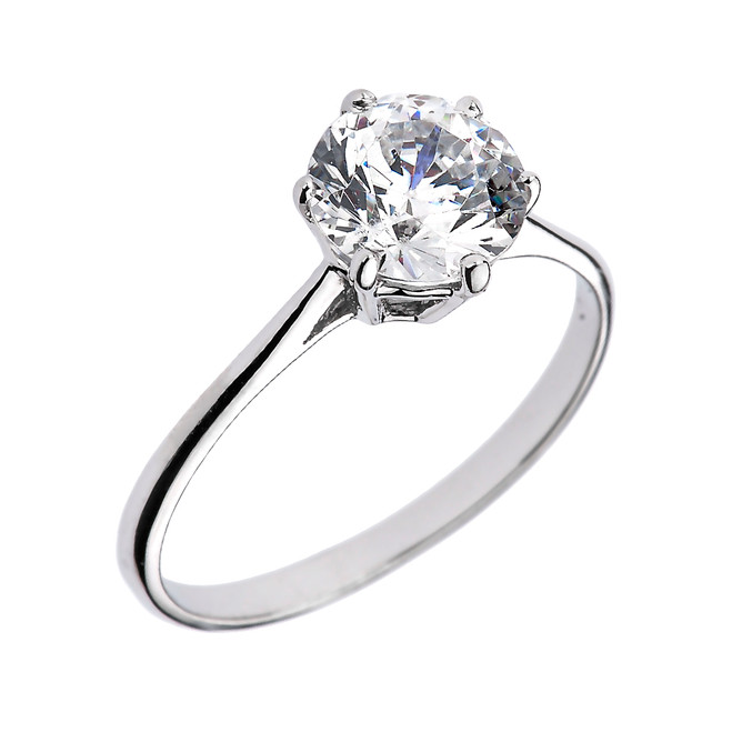 White Gold 6 Prongs 2.80 ct Round CZ Dainty Solitaire Engagement Ring